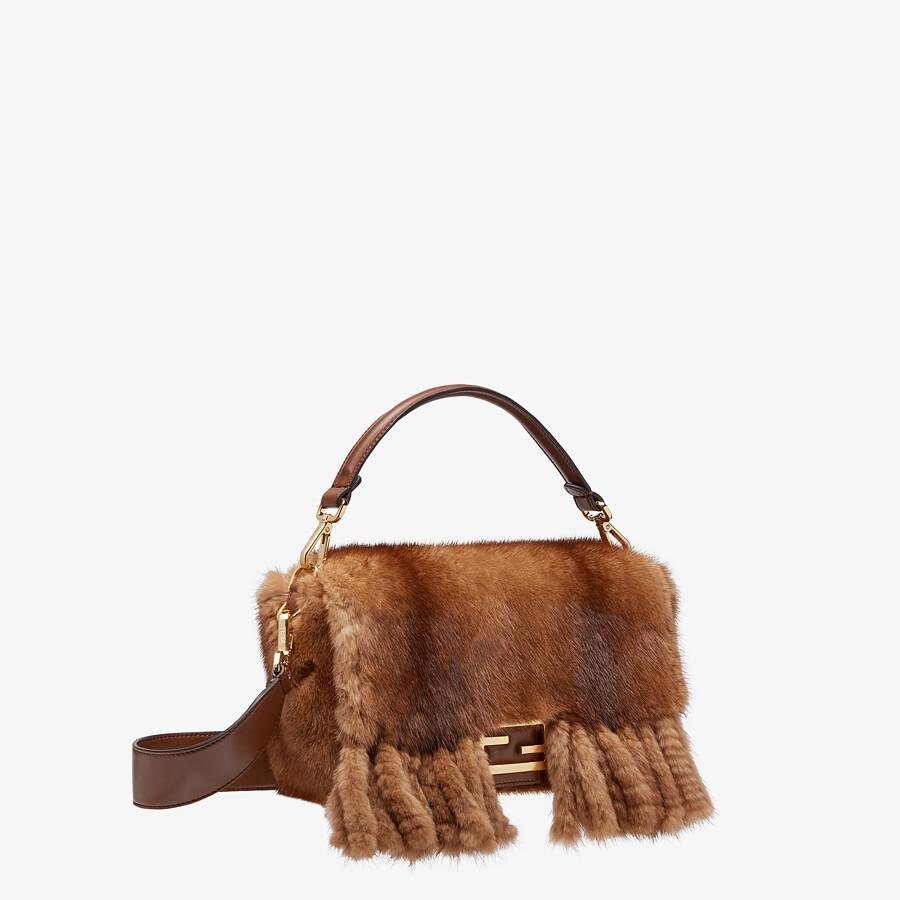 FENDI BAGUETTE - Natural mink bag with fringing - view 3 detail