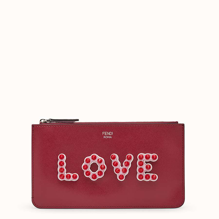 FENDI FLAT CLUTCH - Red leather pouch - view 1 detail