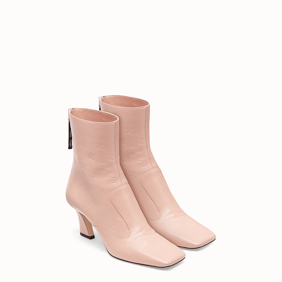 FENDI BOOTS - Booties in pink leather - view 4 detail
