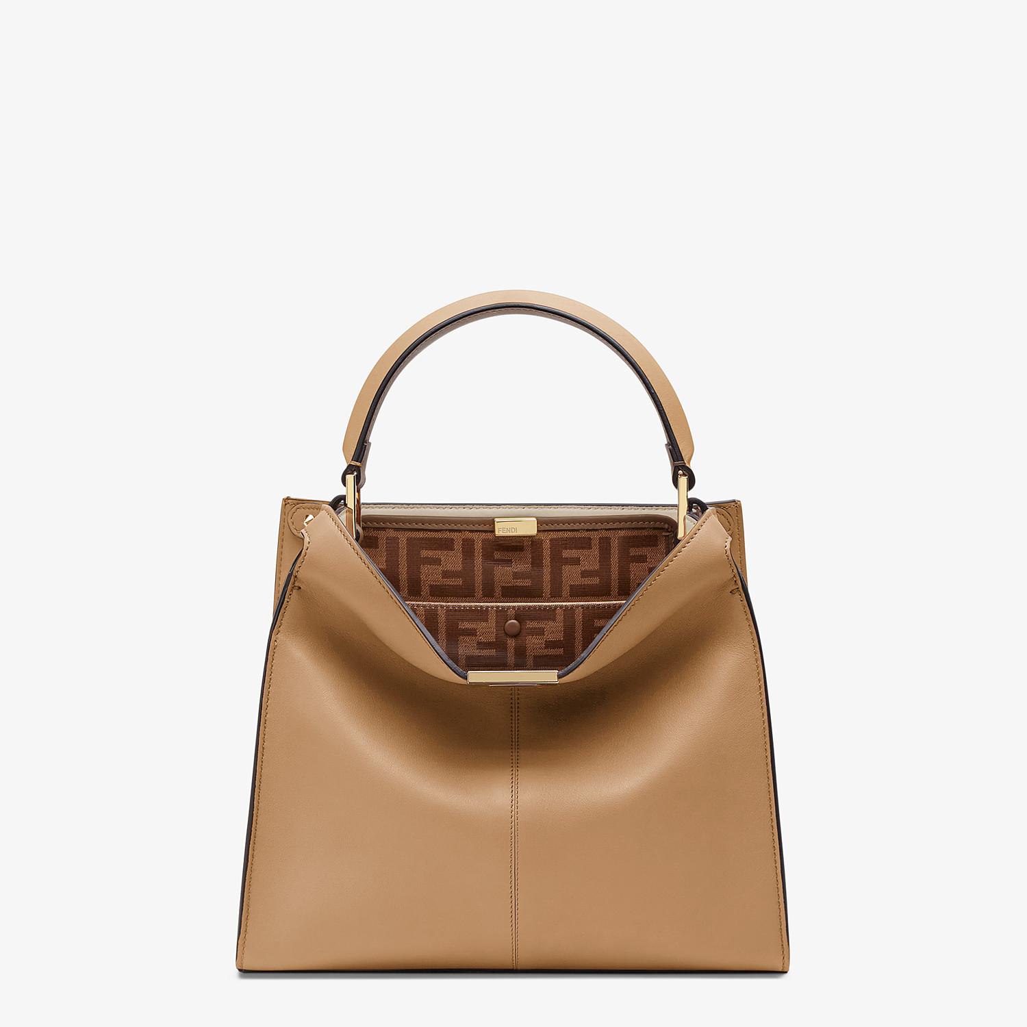 FENDI MEDIUM PEEKABOO X-LITE - Beige leather bag - view 3 detail