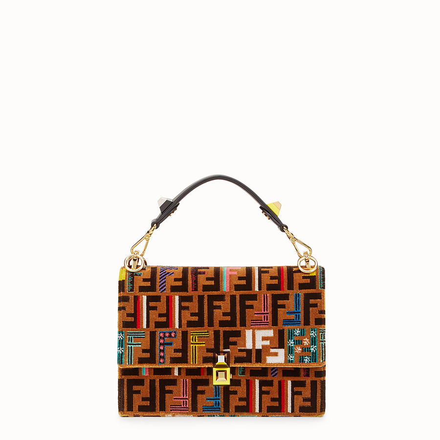FENDI KAN I - Brown leather and silk bag - view 1 detail