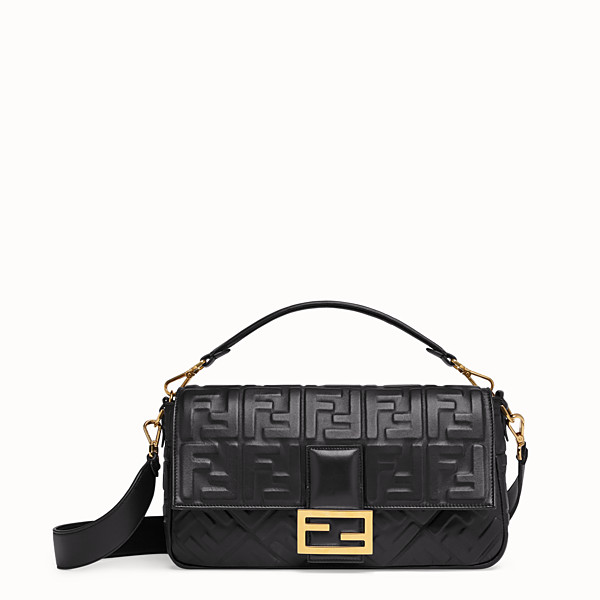 FENDI BAGUETTE LARGE - Borsa in pelle nera - vista 1 thumbnail piccola
