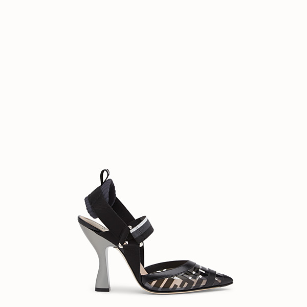 FENDI PUMPS - Slingbacks in PU and black leather - view 1 small thumbnail