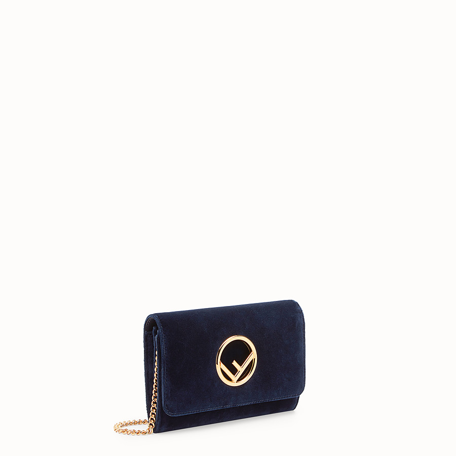 FENDI WALLET ON CHAIN - Blue velvet mini-bag - view 2 detail