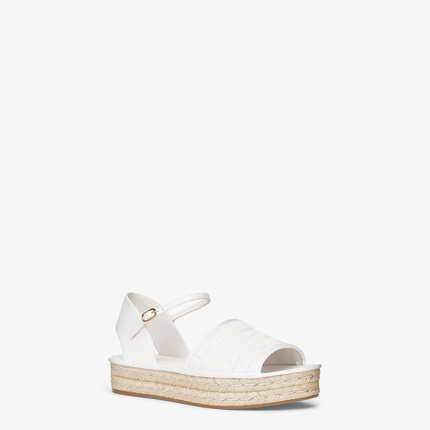 FENDI ESPADRILLES - White leather flatform espadrilles - view 2 detail