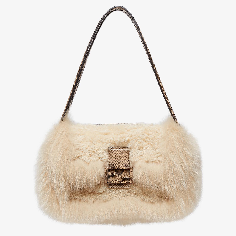 FENDI BAGUETTE MULTI - Beige sheepskin and fox fur bag - view 4 detail
