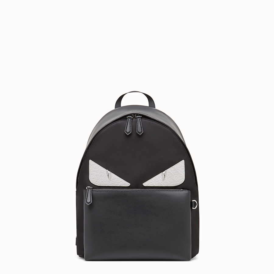 FENDI BACKPACK - Black nylon backpack with exotic leather details - view 1 detail