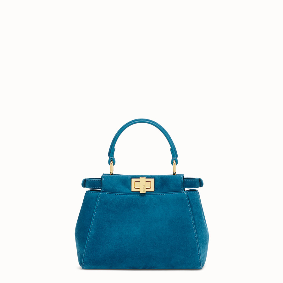 FENDI PEEKABOO ICONIC XS - Blue suede mini bag - view 4 detail