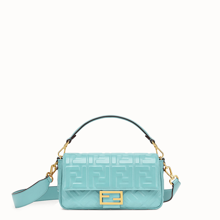 FENDI BAGUETTE - Pale blue leather bag - view 1 detail