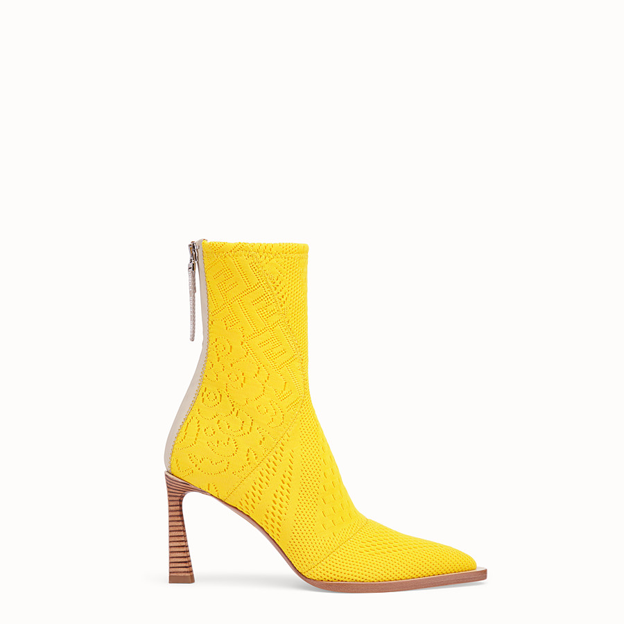 FENDI ANKLE BOOTS - High-tech yellow jacquard ankle boots - view 1 detail