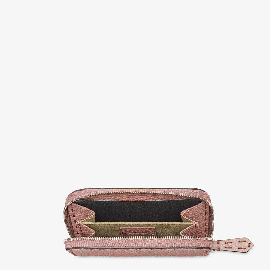 FENDI SMALL ZIP-AROUND - Pink leather wallet - view 4 detail