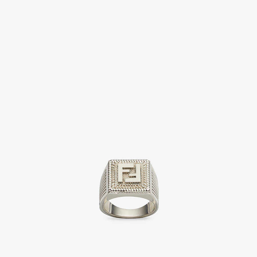 FENDI FF GUILLOCHE RING - Silver-colored ring - view 1 detail