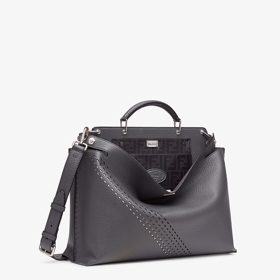 FENDI PEEKABOO ICONIC ESSENTIAL - Grey calf leather bag - view 2 detail