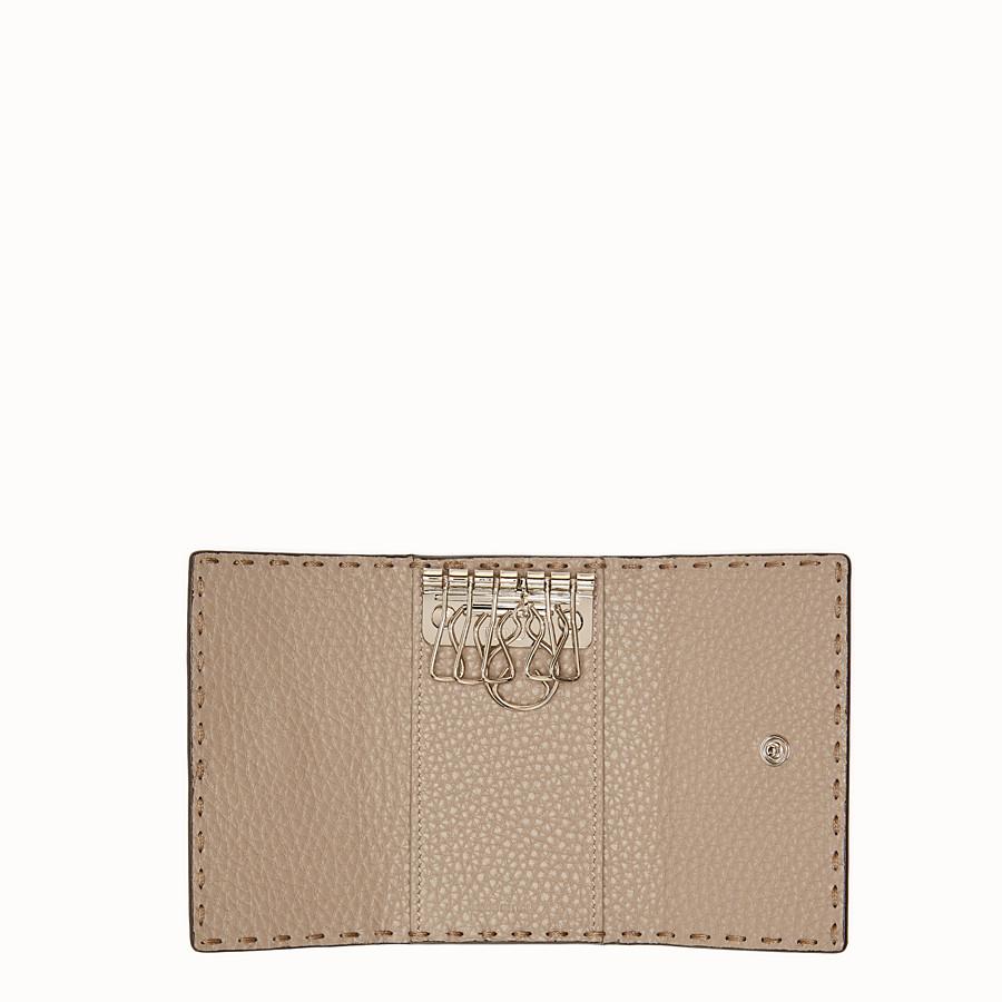 FENDI KEY RING - Beige leather key ring - view 4 detail