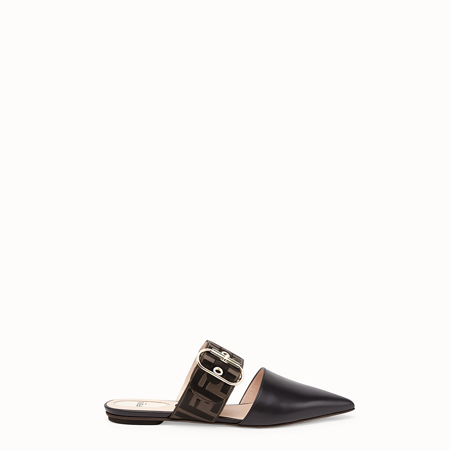 FENDI SABOT - Black leather slingbacks - view 1 detail