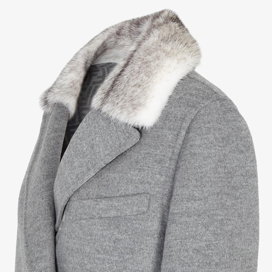 FENDI COAT - Grey double-sided wool coat - view 3 detail