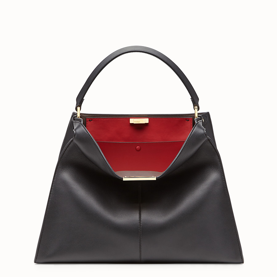 FENDI PEEKABOO X-LITE LARGE - Black leather bag - view 3 detail