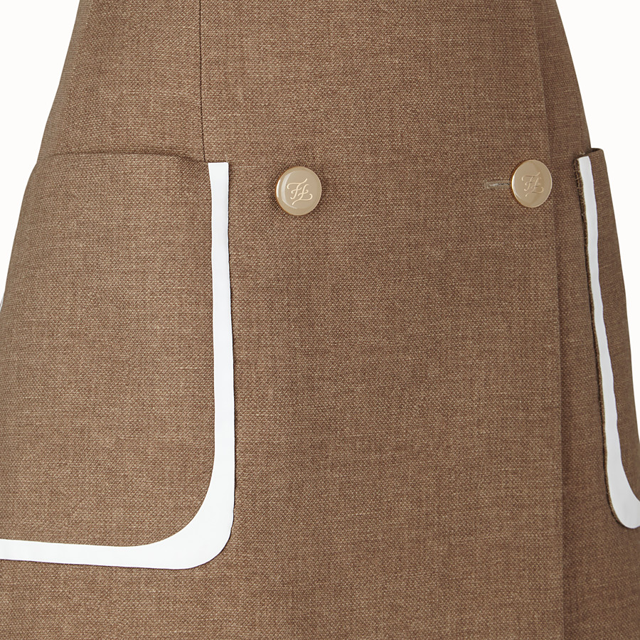 FENDI SKIRT - Beige silk and wool skirt - view 3 detail
