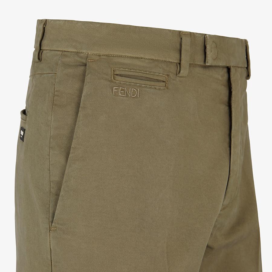 FENDI TROUSERS - Green gabardine trousers - view 3 detail