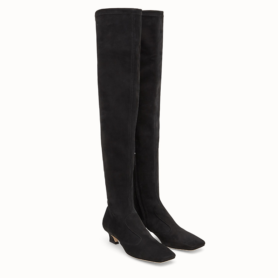 FENDI BOOTS - Black nubuck thigh-high boots - view 4 detail