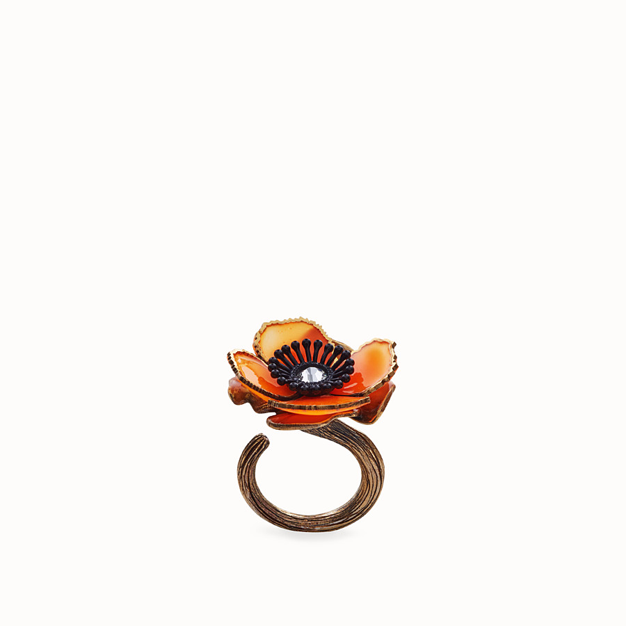 FENDI FLOWERS RING - Orange enamel ring - view 1 detail