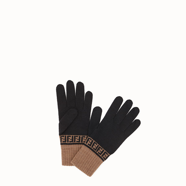 FENDI GLOVES - Gloves in black wool - view 1 small thumbnail