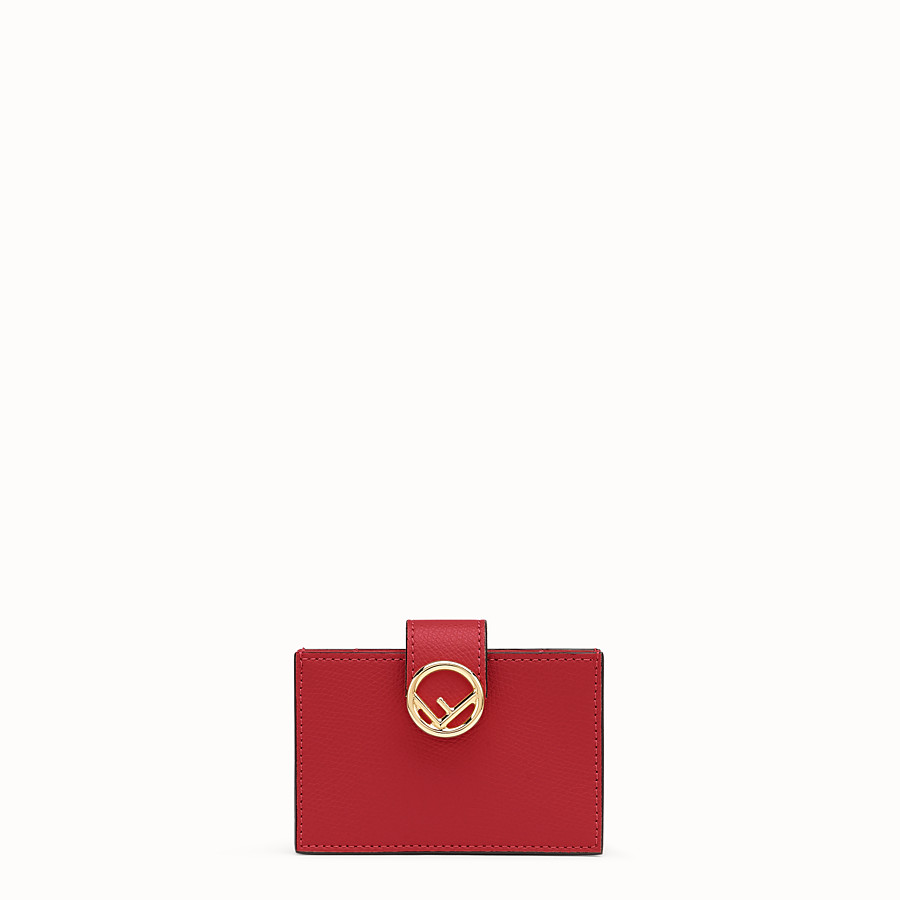 FENDI CARD HOLDER - Red leather gusseted card holder - view 1 detail