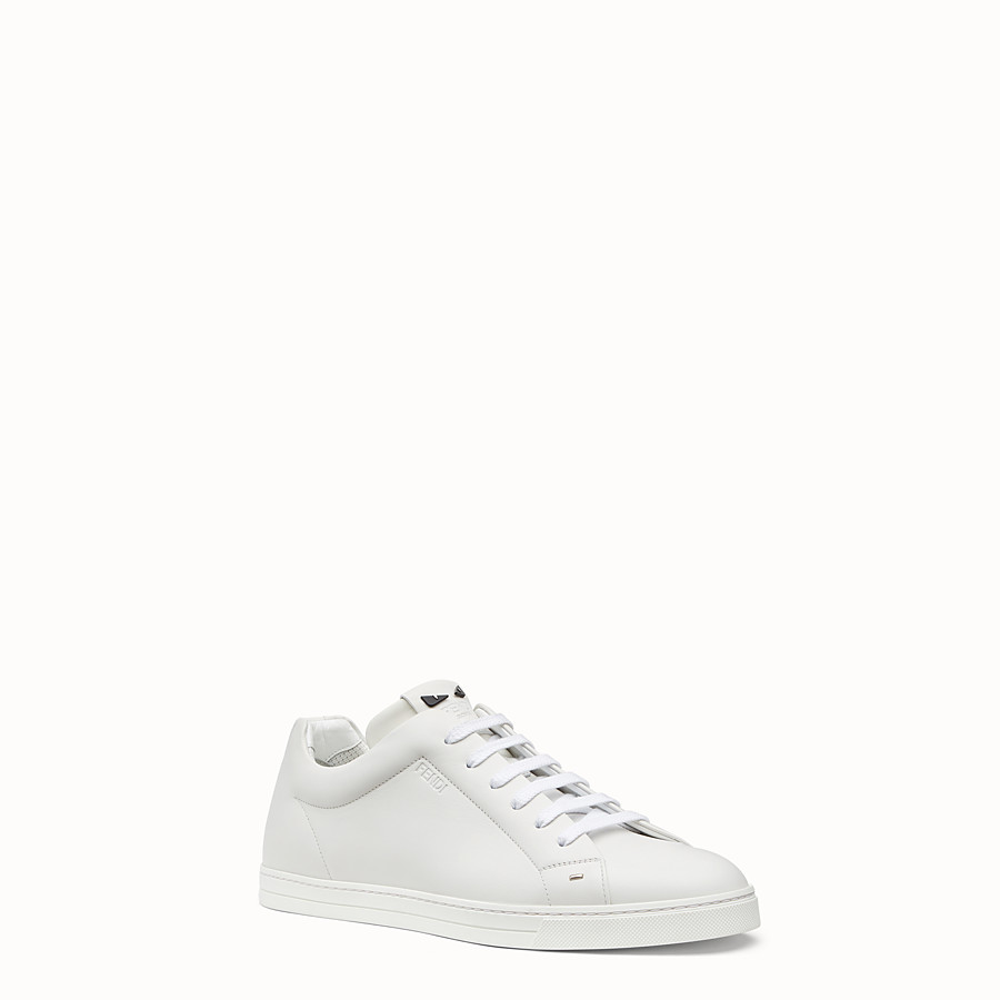FENDI SNEAKERS - White leather lace-ups - view 2 detail