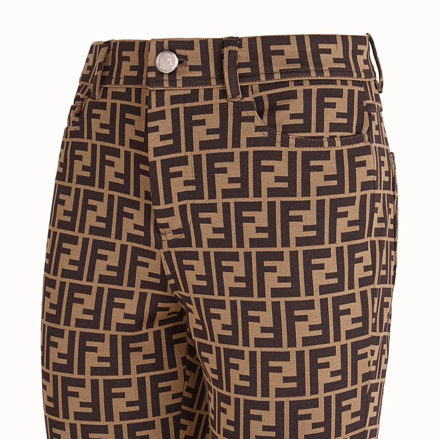 FENDI TROUSERS - Brown cotton jersey trousers - view 3 detail