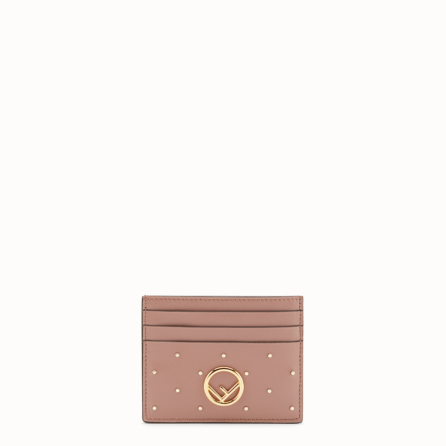 FENDI CARD HOLDER - Pink leather flat card holder - view 1 detail