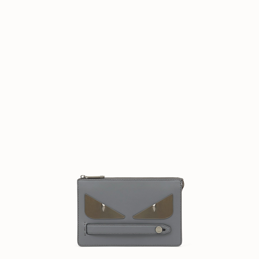 FENDI CLUTCH - Grey leather pochette - view 1 detail
