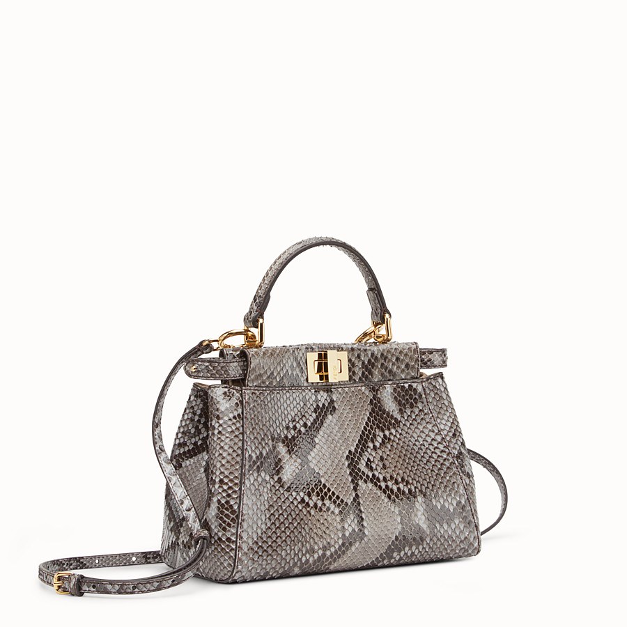 FENDI PEEKABOO ICONIC MINI - Tasche aus Pythonleder in Grau - view 2 detail