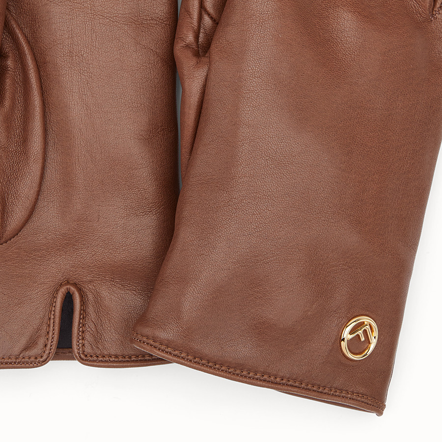 FENDI GLOVES - Gloves in brown nappa leather - view 2 detail