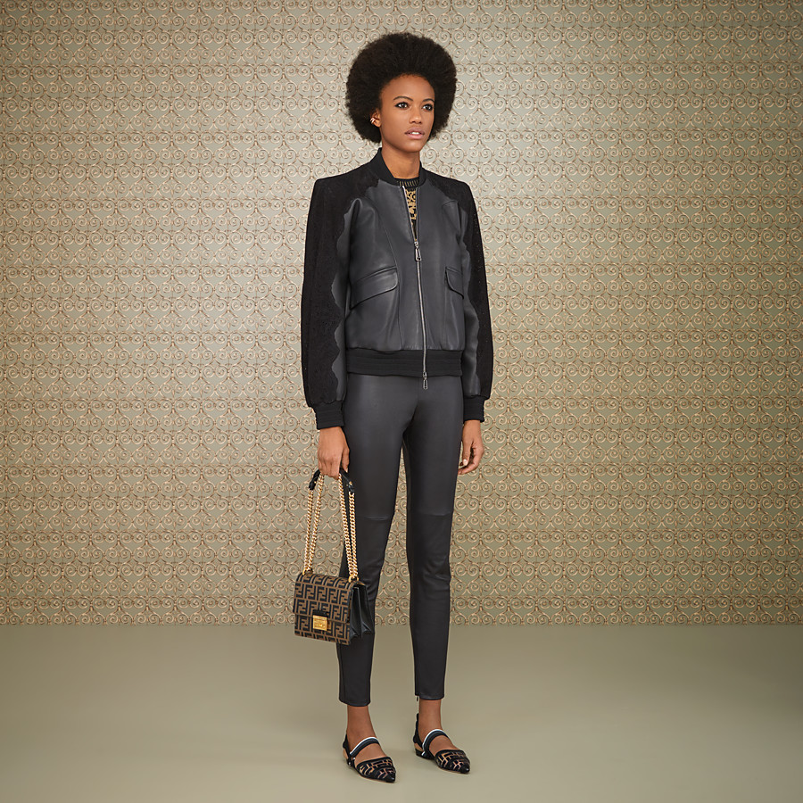 FENDI JACKET - Black leather bomber - view 4 detail