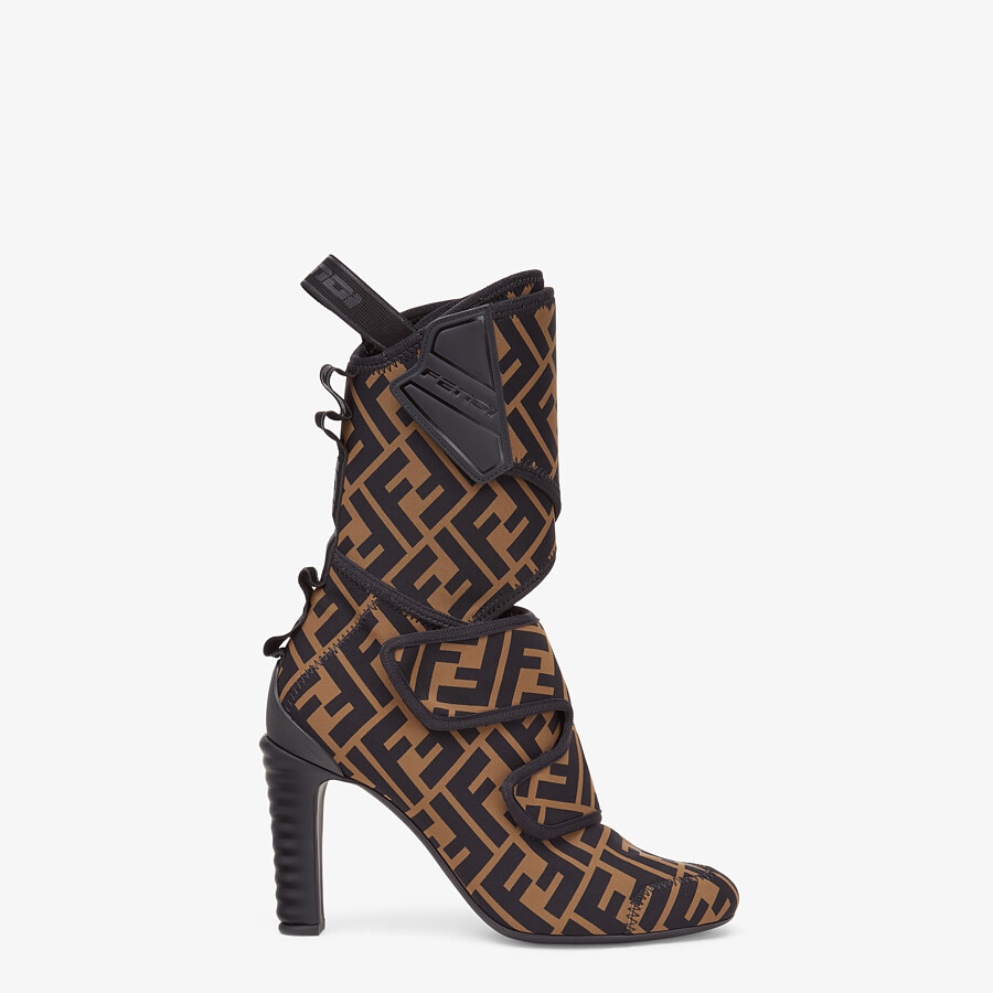 FENDI ANKLE BOOTS - Brown fabric Promenade Booties - view 1 detail