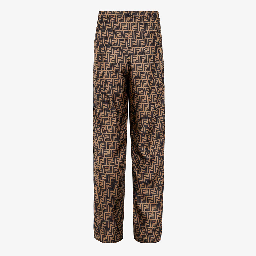 FENDI TROUSERS - Brown silk trousers - view 2 detail