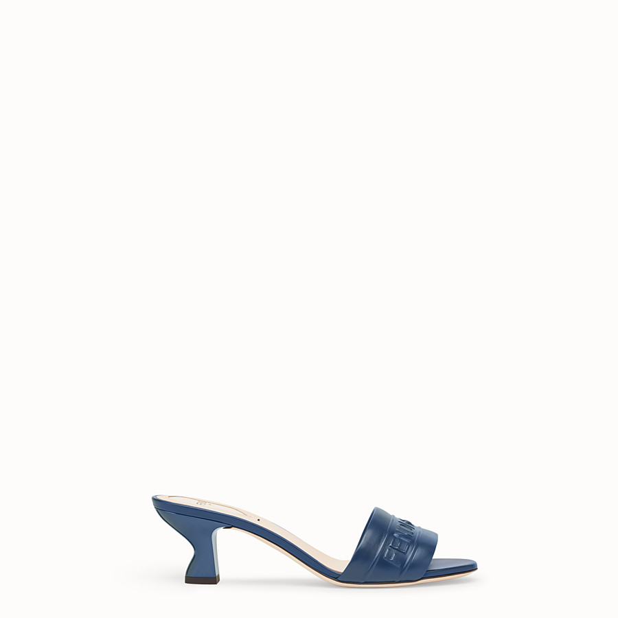 FENDI SANDALS - Blue leather slides - view 1 detail