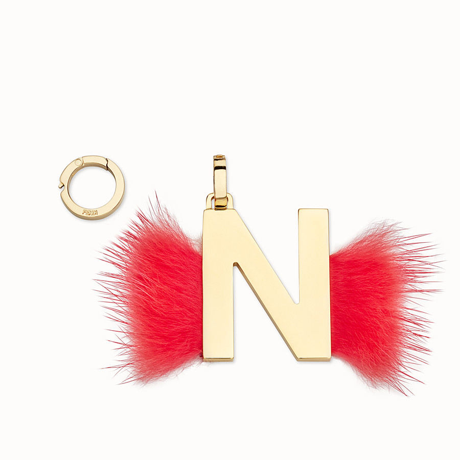 FENDI ABCLICK N - Pendant with flame-red fur - view 1 detail