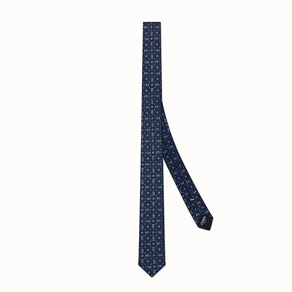 FENDI TIE - 藍色斜紋真絲領帶 - view 1 小型縮圖