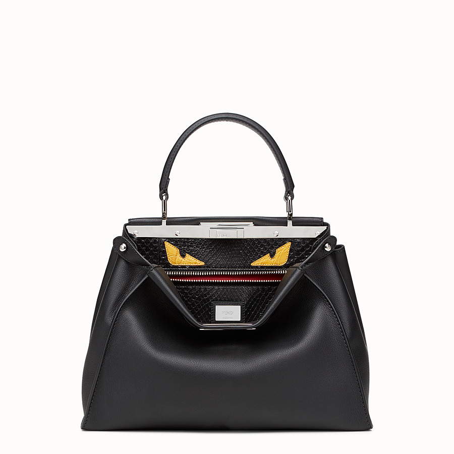 FENDI PEEKABOO REGULAR - handbag in leather and python with Bag Bugs pattern - view 1 detail