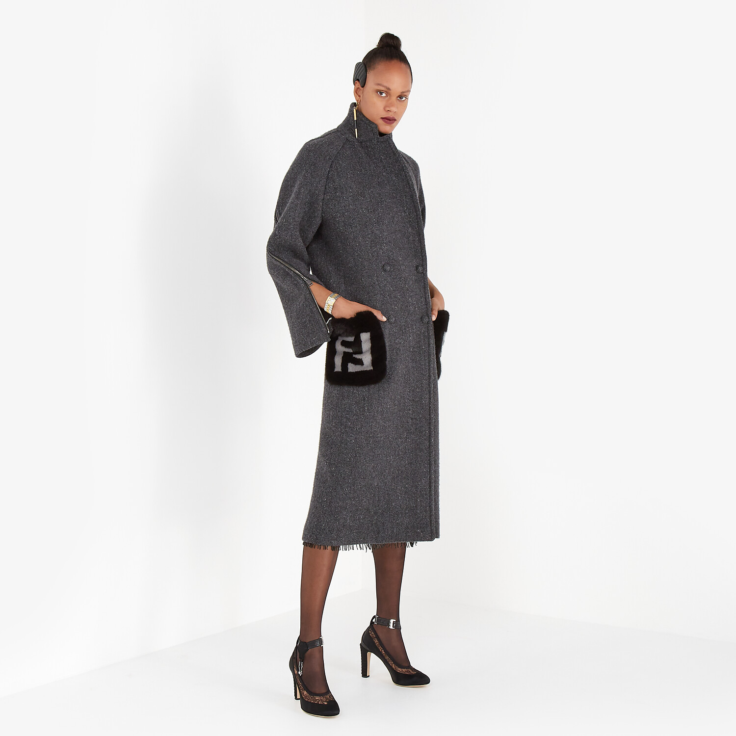 FENDI COAT - Gray melange double wool tweed coat - view 4 detail