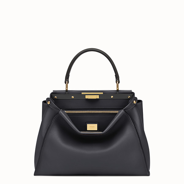 FENDI PEEKABOO REGULAR - Black leather handbag - view 1 small thumbnail