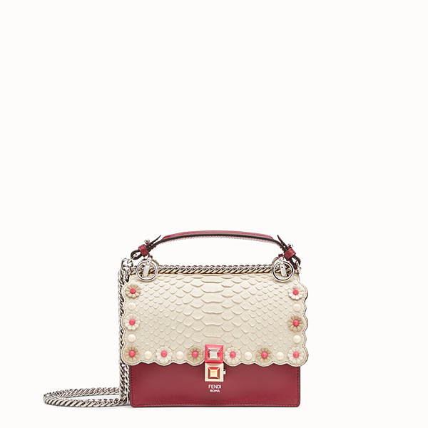 FENDI KAN I SMALL - Red leather mini-bag with exotic details - view 1 small thumbnail