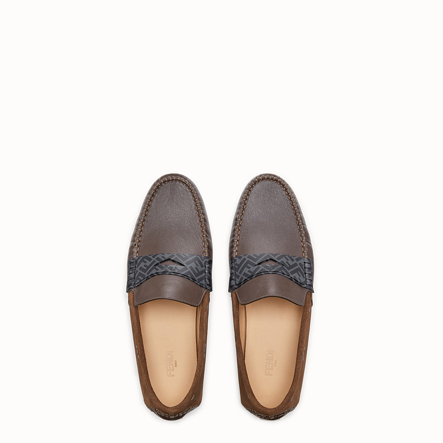 FENDI LOAFERS - Brown leather drivers - view 4 detail
