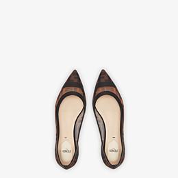 FENDI BALLERINES - Chaussures plates en filet et cuir noir - view 4 thumbnail