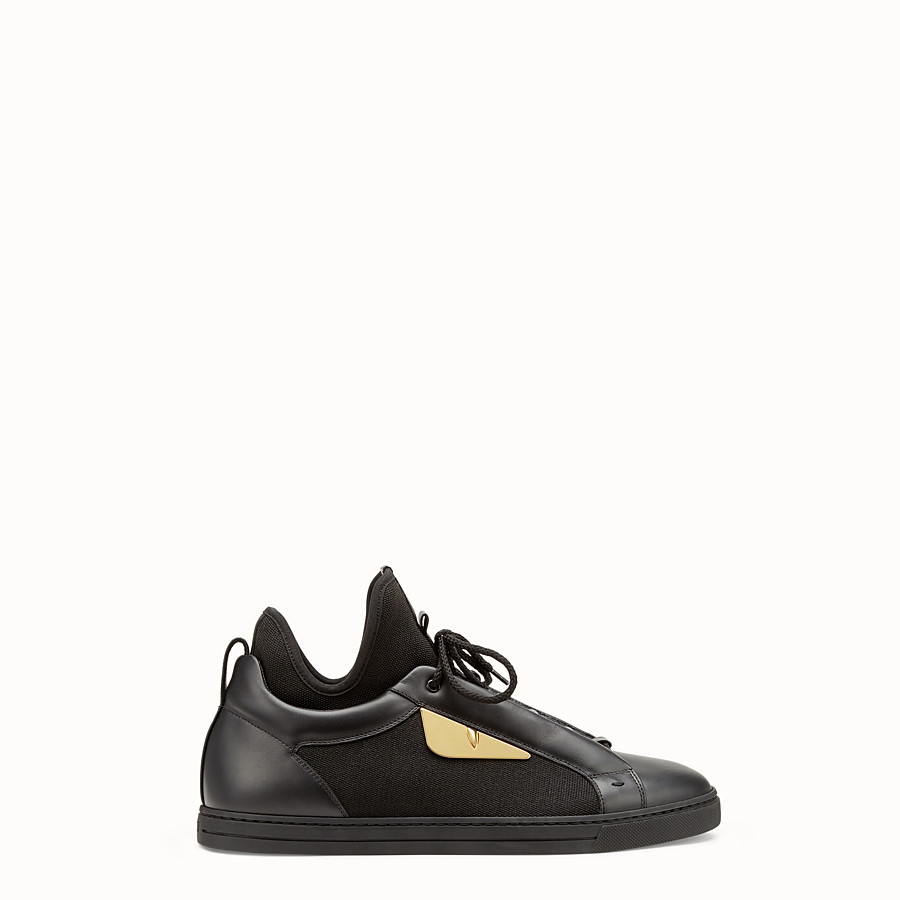 FENDI SNEAKERS - Black leather and tech fabric high-tops - view 1 detail