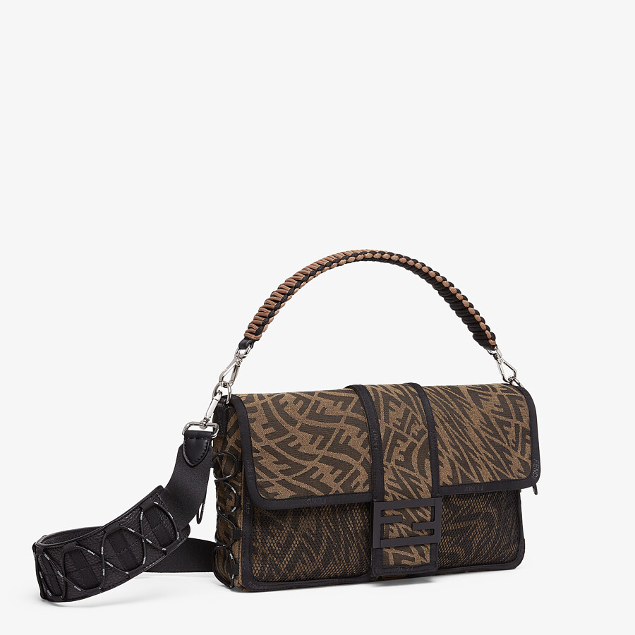 FENDI BAGUETTE LARGE - Brown FF Vertigo fabric bag - view 2 detail
