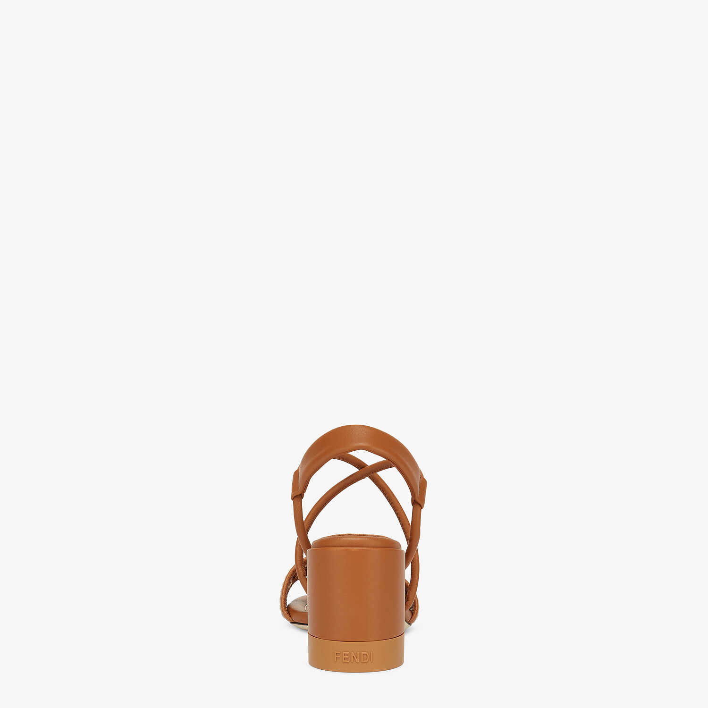 FENDI FF INTERLACE SANDALS - Brown leather sandals - view 3 detail