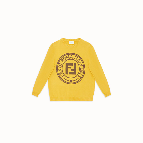 FENDI STAMP JUMPER - Yellow cotton and cashmere jumper - view 1 small thumbnail