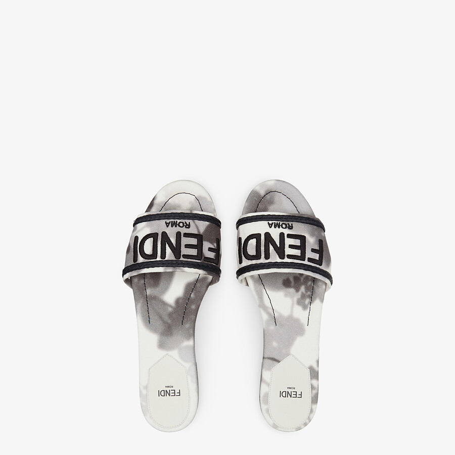 FENDI SIGNATURE SLIDES - Gray canvas slides - view 4 detail